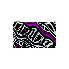 Purple, black and white abstract art Cosmetic Bag (Small)