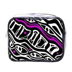 Purple, black and white abstract art Mini Toiletries Bags