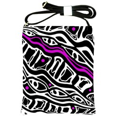 Purple, black and white abstract art Shoulder Sling Bags