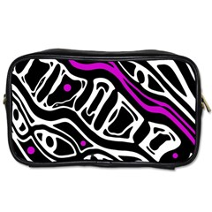Purple, black and white abstract art Toiletries Bags
