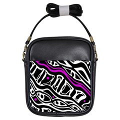 Purple, black and white abstract art Girls Sling Bags