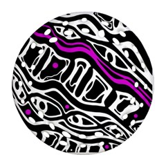 Purple, black and white abstract art Round Filigree Ornament (2Side)