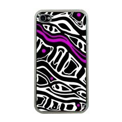 Purple, black and white abstract art Apple iPhone 4 Case (Clear)