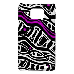 Purple, black and white abstract art Samsung Galaxy S2 i9100 Hardshell Case