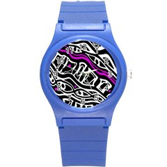 Purple, black and white abstract art Round Plastic Sport Watch (S)