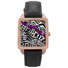 Purple, black and white abstract art Rose Gold Leather Watch