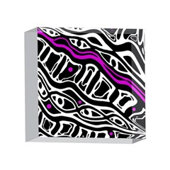 Purple, black and white abstract art 4 x 4  Acrylic Photo Blocks