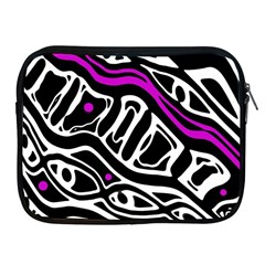 Purple, Black And White Abstract Art Apple Ipad 2/3/4 Zipper Cases