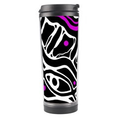 Purple, black and white abstract art Travel Tumbler