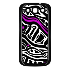 Purple, black and white abstract art Samsung Galaxy S3 Back Case (Black)