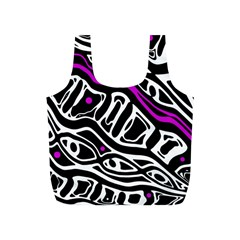 Purple, black and white abstract art Full Print Recycle Bags (S)