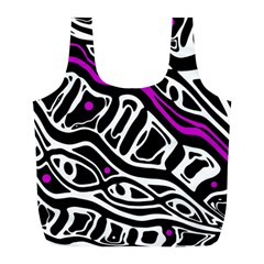 Purple, black and white abstract art Full Print Recycle Bags (L)