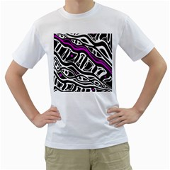 Purple, black and white abstract art Men s T-Shirt (White)