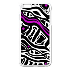 Purple, black and white abstract art Apple iPhone 6 Plus/6S Plus Enamel White Case
