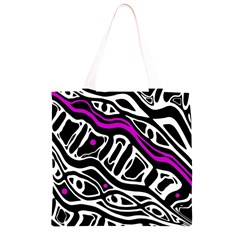 Purple, black and white abstract art Grocery Light Tote Bag