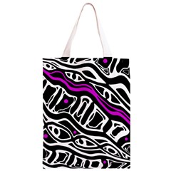 Purple, black and white abstract art Classic Light Tote Bag