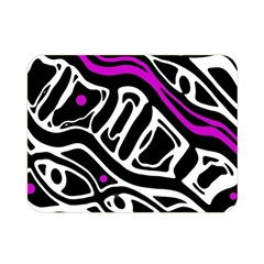 Purple, black and white abstract art Double Sided Flano Blanket (Mini)