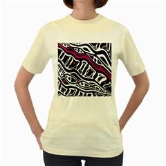 Magenta, black and white abstract art Women s Yellow T-Shirt