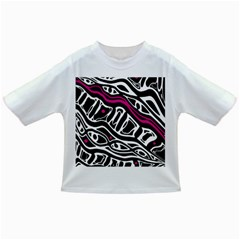 Magenta, black and white abstract art Infant/Toddler T-Shirts