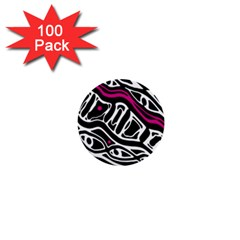 Magenta, black and white abstract art 1  Mini Buttons (100 pack)