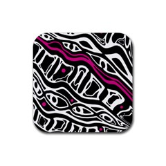 Magenta, black and white abstract art Rubber Square Coaster (4 pack)