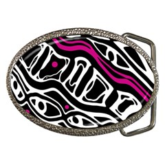 Magenta, Black And White Abstract Art Belt Buckles