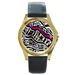Magenta, black and white abstract art Round Gold Metal Watch