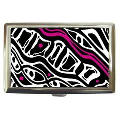 Magenta, black and white abstract art Cigarette Money Cases