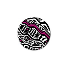 Magenta, black and white abstract art Golf Ball Marker