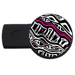 Magenta, black and white abstract art USB Flash Drive Round (2 GB)