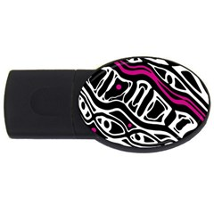 Magenta, black and white abstract art USB Flash Drive Oval (1 GB)