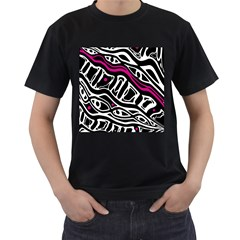 Magenta, black and white abstract art Men s T-Shirt (Black) (Two Sided)