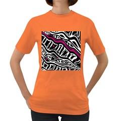 Magenta, black and white abstract art Women s Dark T-Shirt