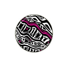 Magenta, black and white abstract art Hat Clip Ball Marker (4 pack)