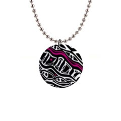 Magenta, black and white abstract art Button Necklaces
