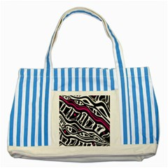 Magenta, black and white abstract art Striped Blue Tote Bag