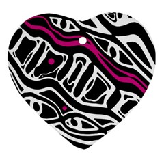 Magenta, black and white abstract art Heart Ornament (2 Sides)