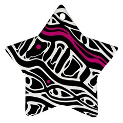 Magenta, black and white abstract art Star Ornament (Two Sides)