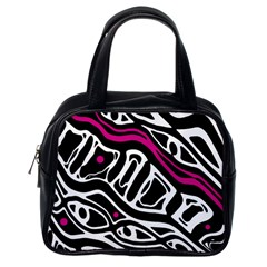 Magenta, black and white abstract art Classic Handbags (One Side)