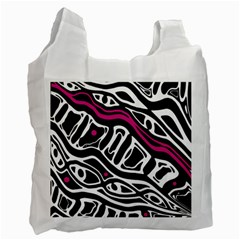 Magenta, black and white abstract art Recycle Bag (One Side)