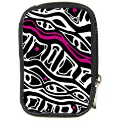 Magenta, black and white abstract art Compact Camera Cases