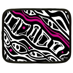 Magenta, black and white abstract art Netbook Case (XXL)