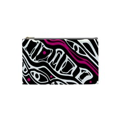 Magenta, black and white abstract art Cosmetic Bag (Small)