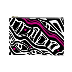 Magenta, black and white abstract art Cosmetic Bag (Large)