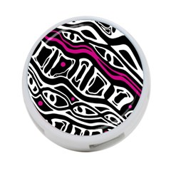 Magenta, black and white abstract art 4-Port USB Hub (One Side)