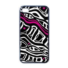 Magenta, black and white abstract art Apple iPhone 4 Case (Black)