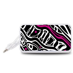 Magenta, black and white abstract art Portable Speaker (White)
