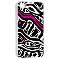 Magenta, black and white abstract art Apple iPhone 4/4s Seamless Case (White)