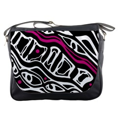 Magenta, black and white abstract art Messenger Bags
