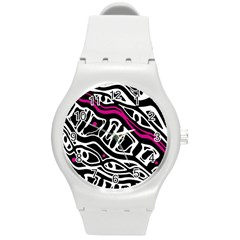 Magenta, black and white abstract art Round Plastic Sport Watch (M)